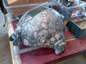 ACU Pattern skull helmet. Damn. If the knives are awesome...what is this?