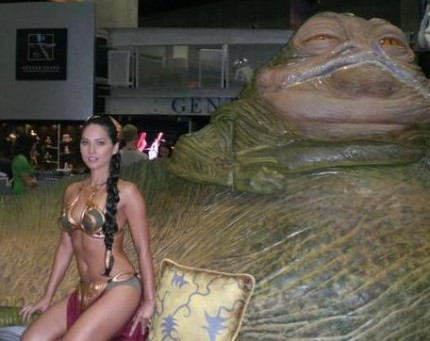 Olivia Munn as Princess Leia, with Jabba the Hutt.