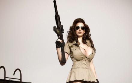 Bust girl with big guns.