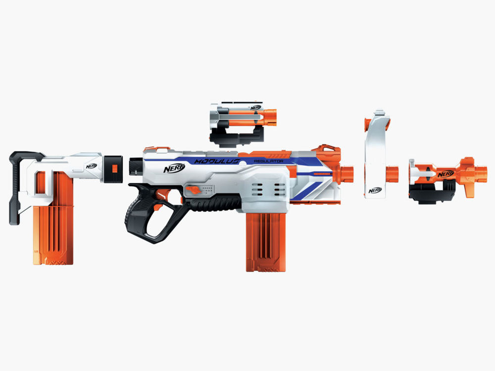 NERF is releasing their first select fire blaster, the N-Strike Modulus  Regulator. Powered by 4 'C' batteries, the Regulator will feature  single-fire, ...