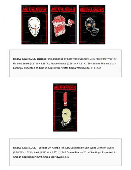 Mondo Tees – Metal Gear Solid Enamel Pins « Tactical Fanboy